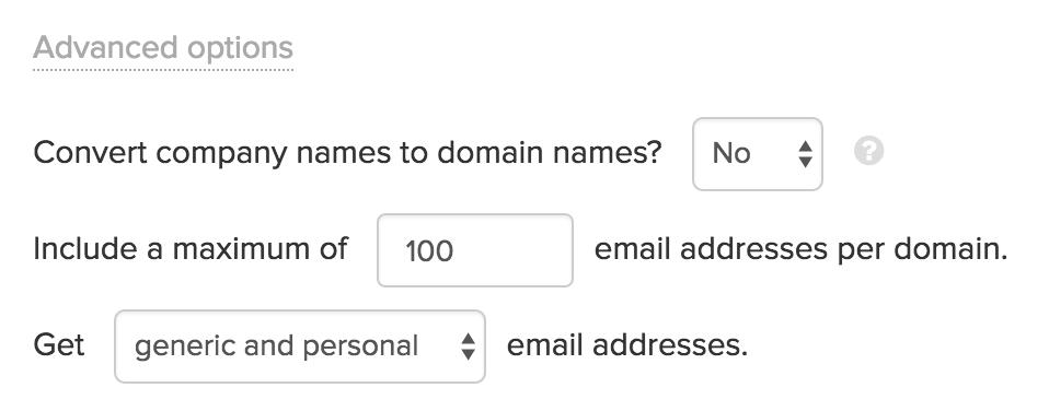 Email Hunter Bulk Domain Search Advanced Settings