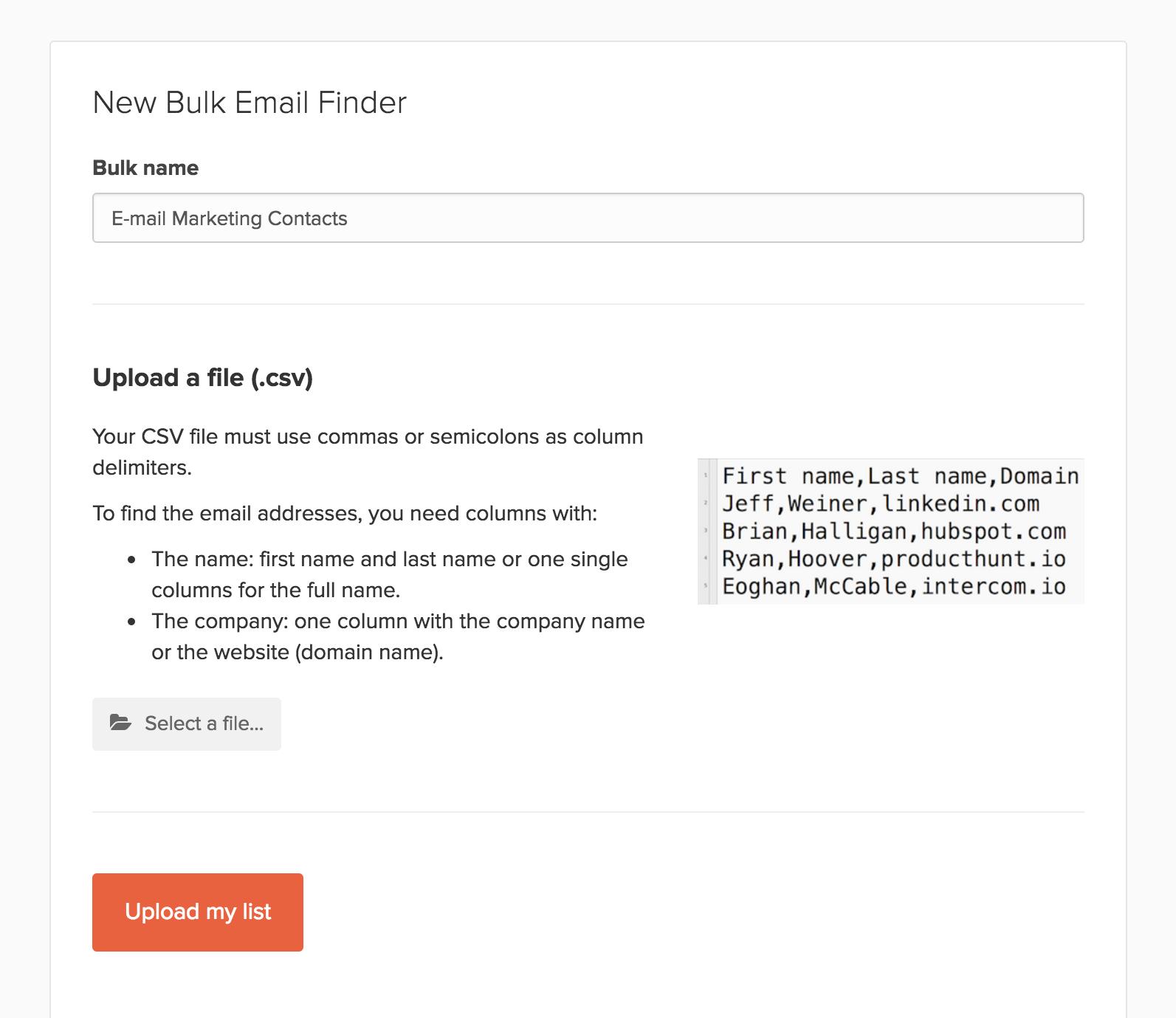 Hunter Bulk Email Finder List Name