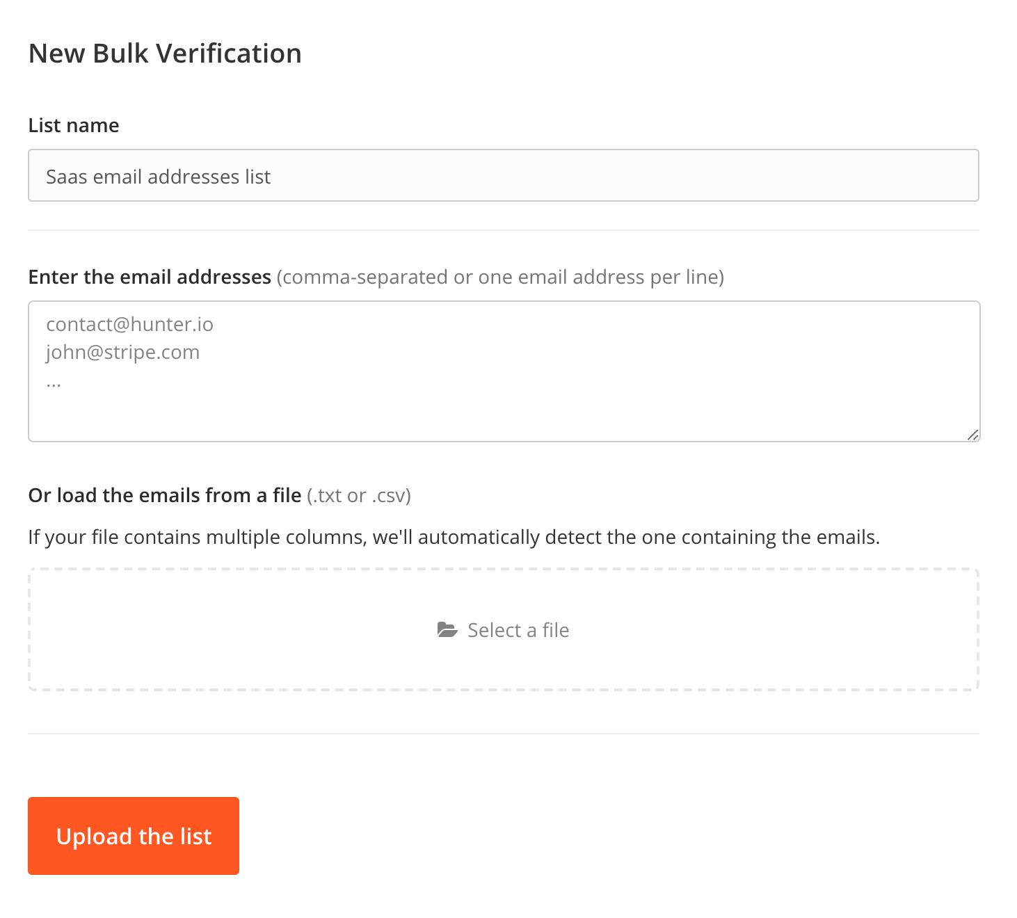 Hunter Bulk Email Verification Methods