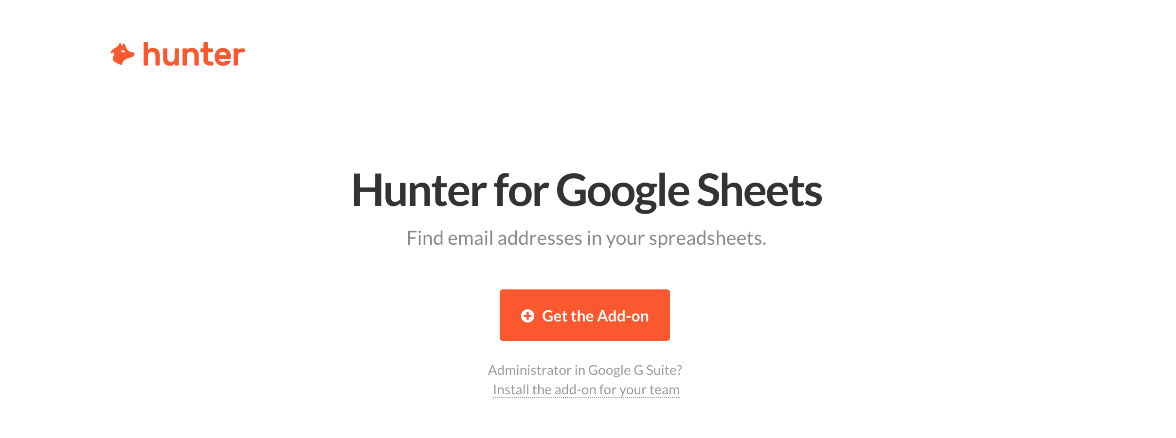 Hunter Google Sheets Add-on Page