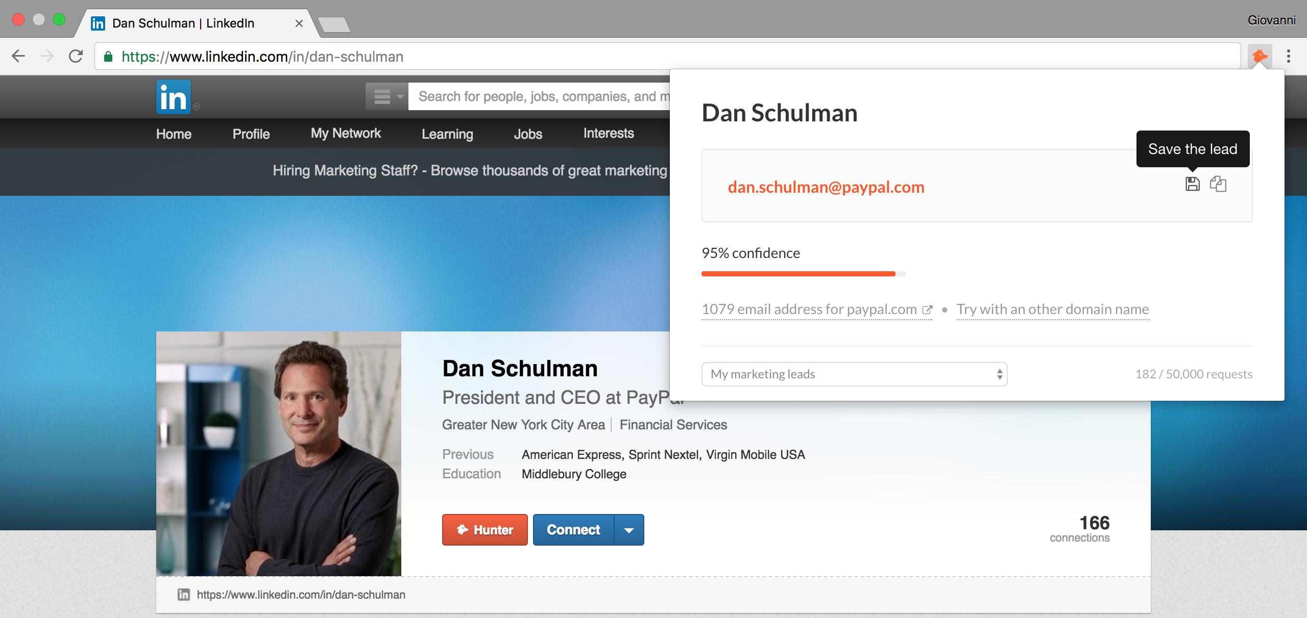 Hunter Google Leads LinkedIn Leads Buttons