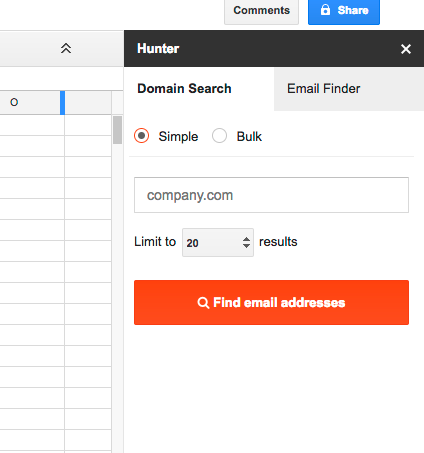 Hunter Google Sheets Add-On View